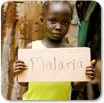 Child Holding Malaria Sign